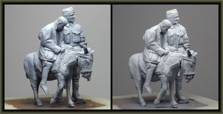 WWI Vignette ; 54mm Airfix/Tamiya Figure Conversion ; 3. Stage