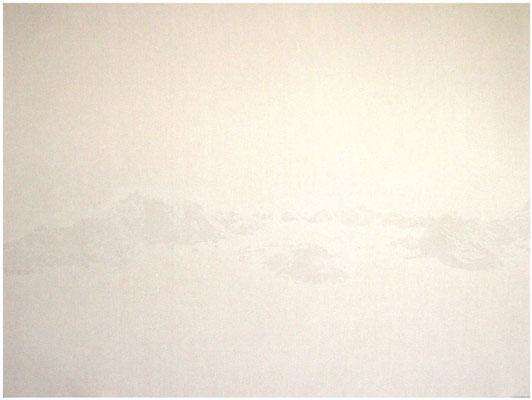 <b>Landschaft 6</b><br />2008<br />Sepiatusche und Acryllack auf Leinen<br />150 cm x 200 cm