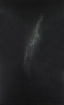 <b>Fading</b><br />2019<br />Tusche, Acrylfarbe und Lack auf Baumwolle<br />  150 cm x 250 cm