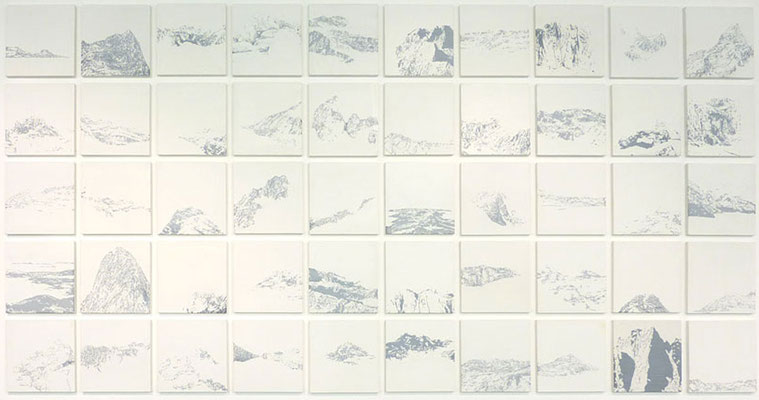 <b>50 kleine Landschaften</b><br />2011<br />Acryl und Lack auf MDF<br />je Bild 20,7 cm x 20,7 cm