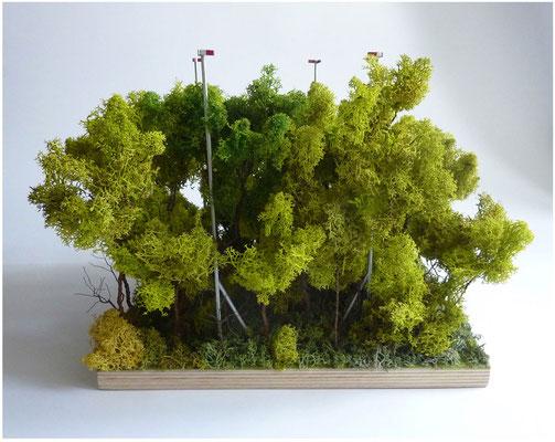 <b>Schweizer Landschaft</b><br />2014<br />Holz, Draht, Moos, Acrylfarbe<br />30 cm x 30 cm 25 cm