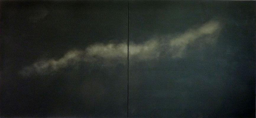 <b>Moonligth</b><br />2017<br />Tusche, Acrylfarbe auf Leinen<br />  160 cm x 360 cm