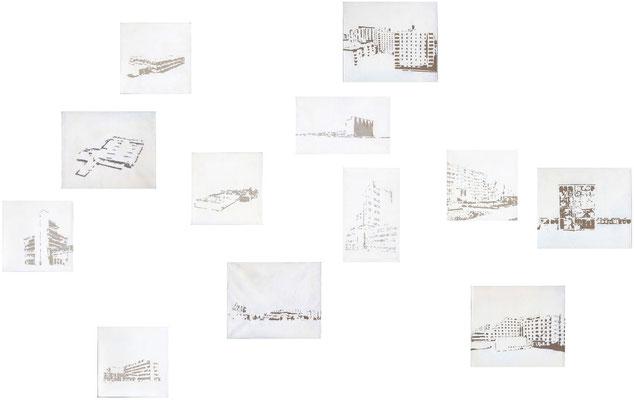 <b>Urban Landscape</b><br />2013<br />Dispersion und Lack auf Papier<br />2 Bilder je 14,5 cm x 26 cm, 5 Bilder je 19,5 cm x 19,5 cm, 5 Bilder je 25 cm x 21,5 cm