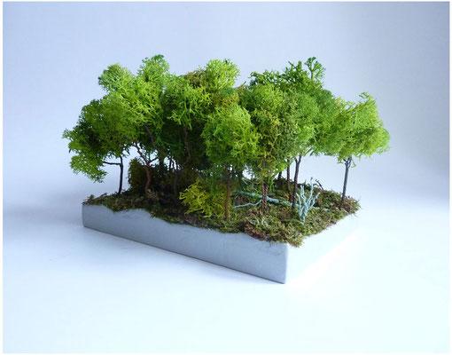 <b>Wald</b><br />2015<br />Holz, Draht, Moos, Acrylfarbe, Styropor, Papiermaché<br />15 cm x 15 cm x 20 cm
