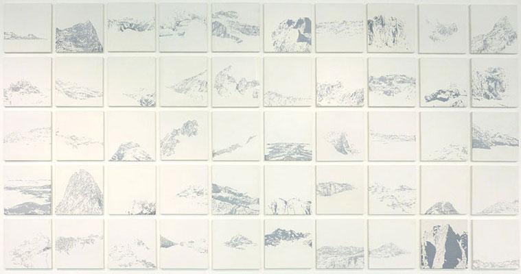 <b>50 kleine Landschaften</b><br />2011<br />Acryl auf Lack auf MDF<br />je Bild 20,7 cm x 20 cm