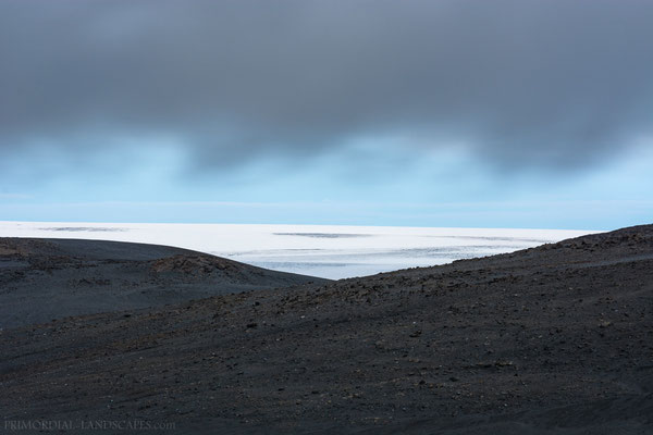 The eternal ice of Vatnajökull behind moraine ridges