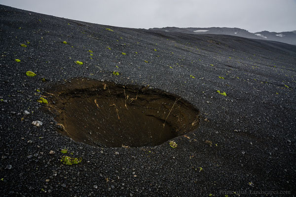 An apparently fresh sinkhole on the fault of the eastern Dyngjufjalladalur boundary.