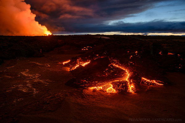 Molten rock swallows the old Holuhraun lava field slowly