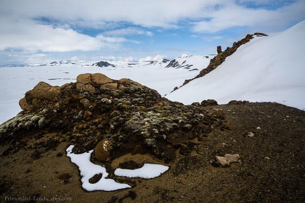 Alone I plodded through deep snow in the oldest caldera of Askja (named Kollur) towards the isolated Mount Kollur.