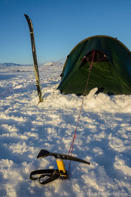 We pitched our tunnel tent on the slopes of Kollóttadyngja. The ice axe was a very useful item to secure the tent...