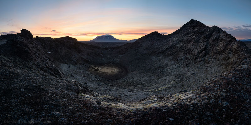 Scoria cone, Herðubreið and a tiny Snæfell