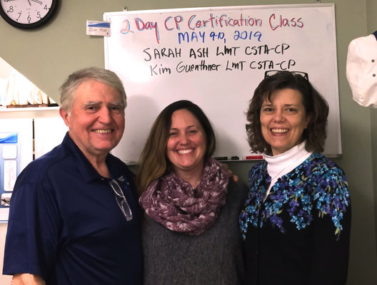 Don Ash with Sarah Ash, LMT, CSTA-CP and Kim Guenthner, LMT, CSTA-CP, certified May 9-10, 2019.