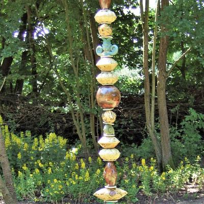 Keramik-Gartenstele, beige, rot-braun, türkis, 2 m hoch;  lovely-cera ~ schöne Keramik-Kunst