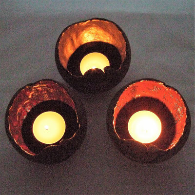 """Keramik-Windlicht-Kugel """"Ammonit"""", Gold-Rustica, Braun-Mars, Rot-Solar;  lovely-cera ~ schöne Keramik-Kunst Nürnberg"""