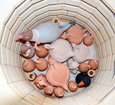 Brennofen mit Rohware; Keramikatelier lovely-cera ~ schöne Keramikkunst Ludwigsstadt