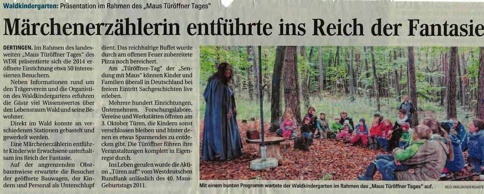 Bericht über den Maus Türöffner Tag in den Fränkischen Nachrichten Oktober 2017