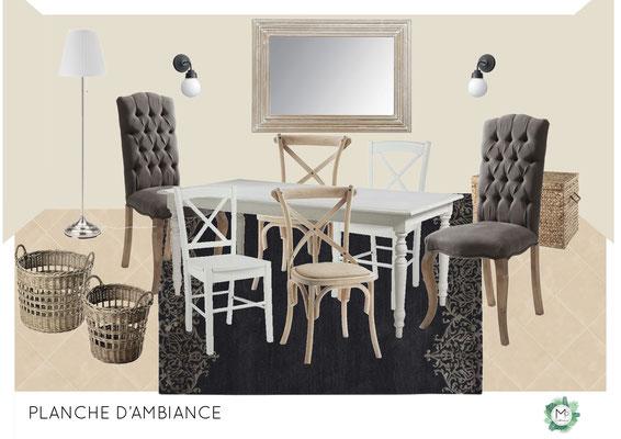 Planche d'ambiance style cottage par MP intérieurs, Décoratrice UFDI sur Bordeaux et en Gironde (33).