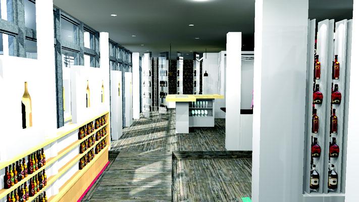 Projet d'aménagement pour un caviste par MP intérieurs, Architecte d'intérieur UFDI : rendu 3D