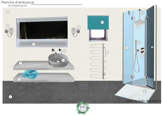 Planche d'ambiance pour salle de bain par MP intérieurs, Décoratrice UFDI sur Bordeaux et en Gironde (33).