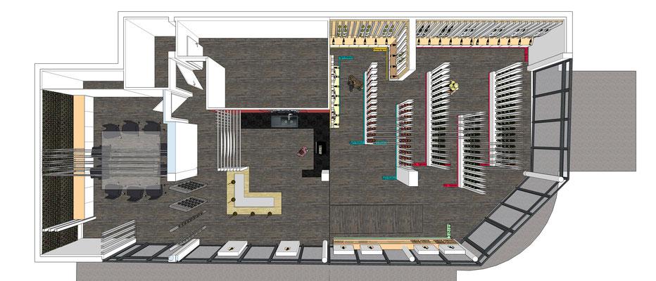 Projet d'aménagement pour un caviste par MP intérieurs, Architecte d'intérieur UFDI : vue 3D de dessus