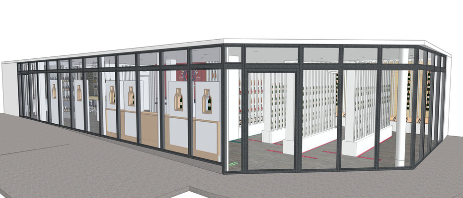 Projet d'aménagement pour un caviste par MP intérieurs, Architecte d'intérieur UFDI : vue de la vitrine