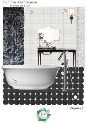 Planche d'ambiance Black & White pour salle de bain par MP intérieurs, Décoratrice UFDI sur Bordeaux et en Gironde (33).