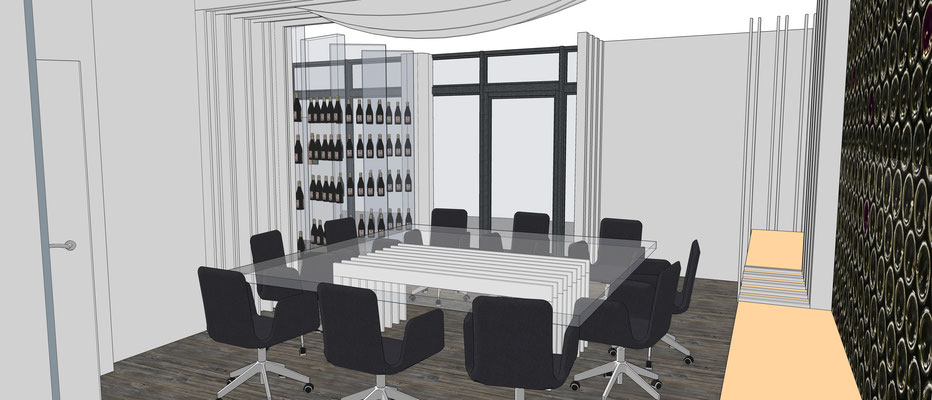 Projet d'aménagement pour un caviste par MP intérieurs, Architecte d'intérieur UFDI : salle de dégustation