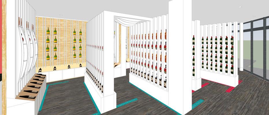 Projet d'aménagement pour un caviste par MP intérieurs, Architecte d'intérieur UFDI : vinothèque