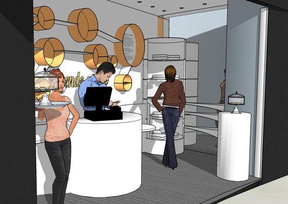 Proposition d'aménagement d'un boutique de macarons, par MP intérieurs, Architecte d'intérieur UFDI : détail du comptoir