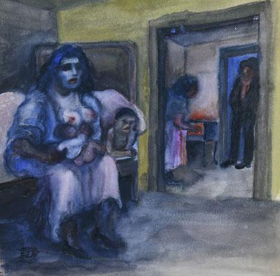 Interieur mit Frau auf dem Bett (1930)