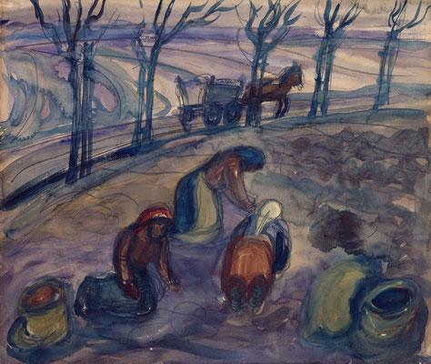 Feldarbeit (in Blau, unbez.)