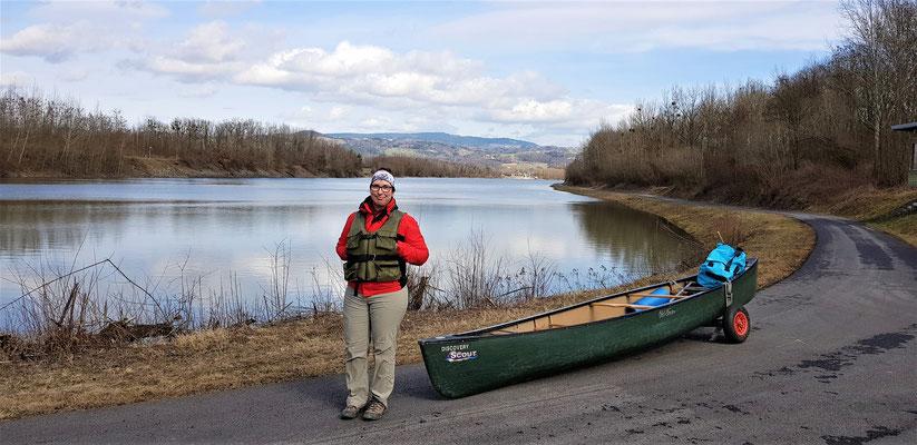 Umtragung von der Regattastrecke zum Oberwasser der Donau im Staubereich