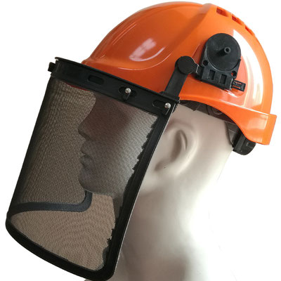 Model #203M Face Shield with Steel Mesh Mounted on Helmet, CE EN1731 Standards