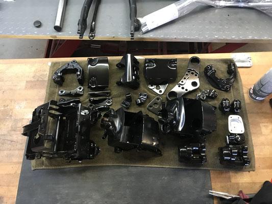 motorradteile sandgestrahlt yamaha xs650 luftfilterkasten schwarzglanz schwarz glanz