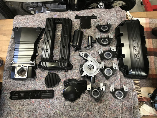 motorradteile sandgestrahlt bmw k100 motordecke schwarz matt wasserpumpe bremsen