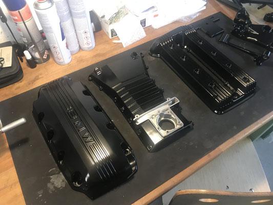 motorradteile sandgestrahlt bmw k100 motordeckel pulverbeschichtet schwarz glanz