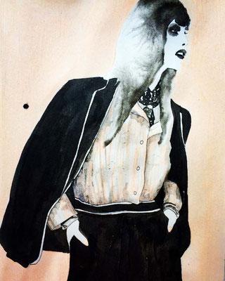 'Woman in Black' / mixed media on paper / size 29 cm x 20 cm / € 60,- / Anja de Boer 2017