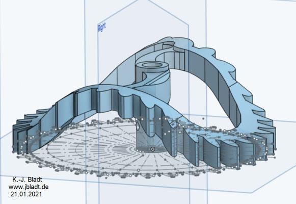 Gewölbtes Zahnrad mit spiralförmiger Kontur / gezeichnet mit Oneshape für den Export als STL-Datei