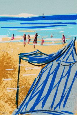 Plage de Dinard en Bretagne, sérigraphie originale d'un paysage de bord de mer en France, cabine de plage et baigneurs, 15 exemplaires numérotés 10cm x 15cm