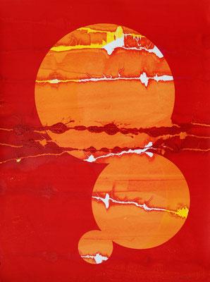Rouge et orange, sérigraphie originale 76cm x56cm