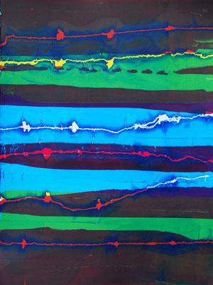 Sérigraphie moderne, vert,bleu et violet 76cm x56cm