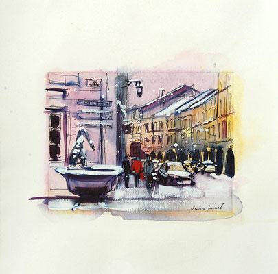 Estampe et aquarelle d'une ville française Remiremont