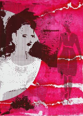 Sérigraphie rose et violette de femmes 38cm x28cm