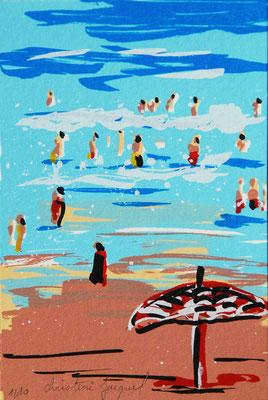 Sérigraphie d'une mer bleue en France en été avec des vacanciers dans les vagues,sérigraphie originale, série limitée,carte postale