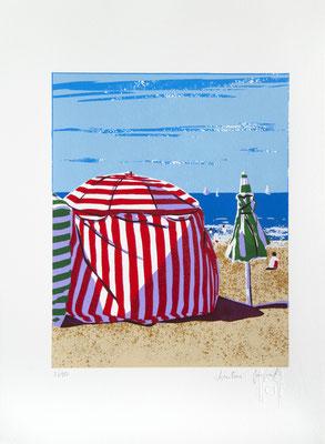 Sérigraphie originale de cabines de plage à Biarritz  28cmx 38cm