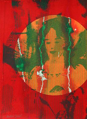 Sérigraphuie originale rouge orange et verte 38cm x28cm