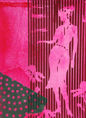 Sérigraphie d'une silhouette de femme tout en rose 38cm x28cm