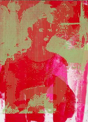 Sérigraphie originale, art moderne et contemporain rouge et vert 38cm x28cm