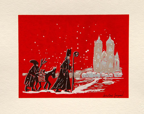 Sérigraphie originale rouge et brune de Saint-Nicolas en Lorraine