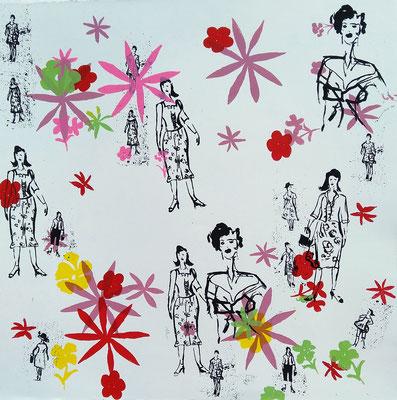 """Série """"Jardin de femmes jardin de fleurs"""" Sérigraphie originale en un seul exemplaire 60cmx60cm"""